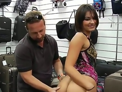 Tempting short haired brunette milf with natural boobies and perfect firm round bums in colorful summer dress teases filthy fellow and takes on his cock in shop in point of view.