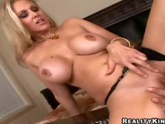 Smoking hot blonde milf Julia Ann with gigantic firm marangos and long legs in black undies gets shaved cunny licked by Ramon Nomar and gives him memorable titjob in close up