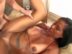 Viana Milian is a smoking hot milf with tanlined ass and boobs, Big boobed dark haired experienced bitch takes guys hard cock so deep in her shaved pussy. Watch horny mom receive slam screwed