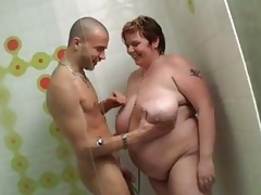 Giant BBW gets banged in the shower