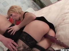 Mature slut with toy in her bawdy cleft sucks cock