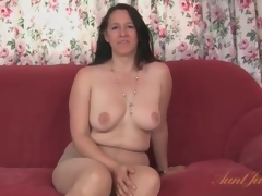 Chunky milf strips from her dress and pantyhose