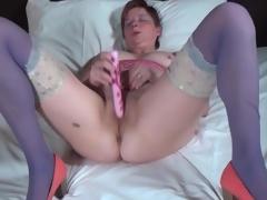Big gazoo mature in blue stockings fucksa toy