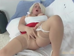 Solo blond mom in skirt and stockings masturbates
