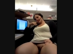 Chubby Milf Cums on the Phone at Work