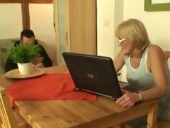 Porn-loving granny copulates a young lad
