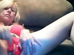 Marvelous Blonde Mom Dildoing Creamy Pussy